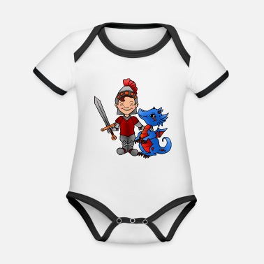 Knight Knight with dragon - Organic Baby Contrasting Bodysuit