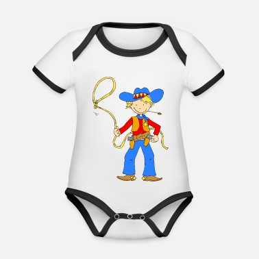 Lasso Cowboy with Lasso - Organic Contrast Baby Bodysuit