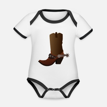 cowboy ranger rancher sheriff horsewester - Organic Contrast Baby Bodysuit