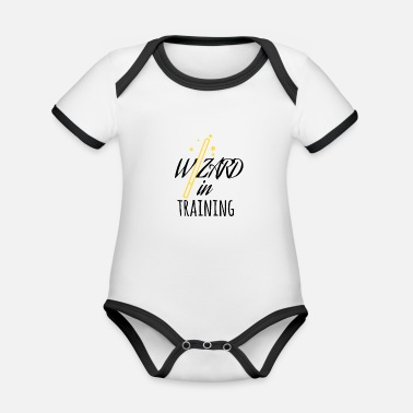 Training Wizard in Training - Body da neonato a manica corta, ecologico e in contrasto cromatico