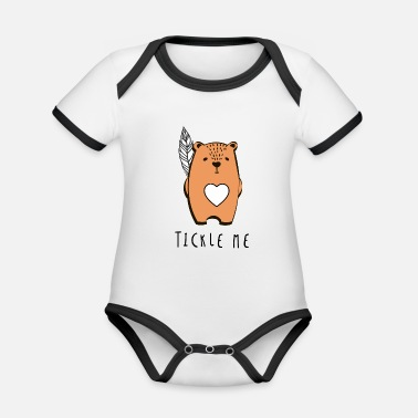 Ilustration Tickle Me Cute Bear Ilustration Gift Men Women - Organic Contrast Baby Bodysuit