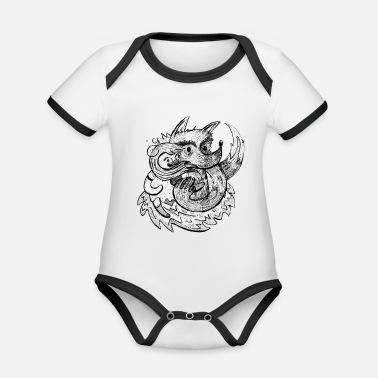 Dessin Au Crayon Firefox et le loup - Body bébé bio contrasté 0daa13b5771