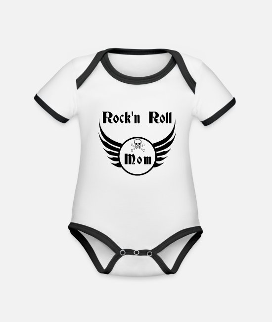Rockeuse Baby Bodysuits - Rock and roll mom - Organic Contrast Baby Bodysuit white/black