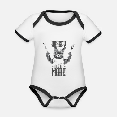 Hungry for more - cats are hungry - cat lovers - Organic Contrast Baby Bodysuit