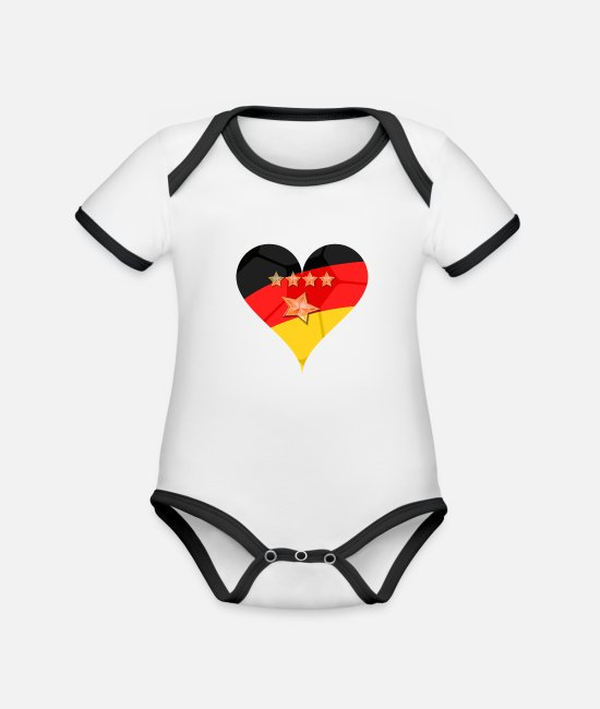 Star Baby Bodysuits - Germany Hertz 4 + 1 star - Organic Contrast Baby Bodysuit white/black