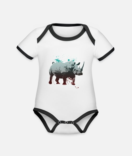 Rhinoceros Baby Clothes - Rhino drawing with gradient speckled - Organic Contrast Baby Bodysuit white/black