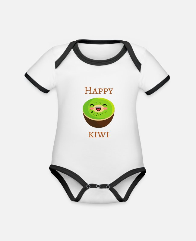 Friendship Baby Bodysuits - Happy kiwi funny design food fruit - Organic Contrast Baby Bodysuit white/black