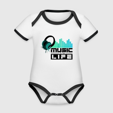 Dj Music Sound Beat Party DJ Band - Organic Baby Contrasting Bodysuit