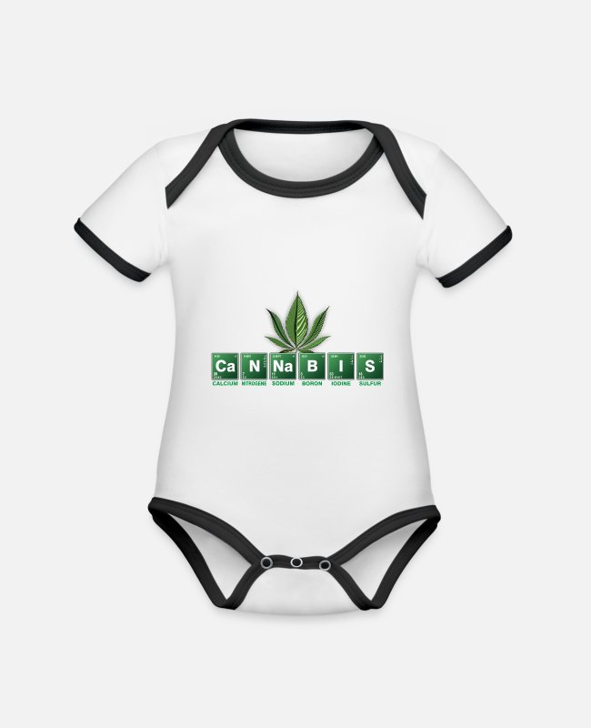 Hemp Baby Bodysuits - Cannabis marijuana chemistry elements - Organic Contrast Baby Bodysuit white/black