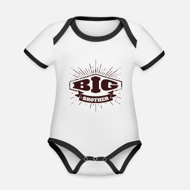 Big Big Brother Big Sister Badge Big Brother - Body Bébé bio contrasté manches courtes