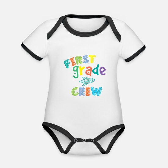 Studies Baby Clothes - First Grade Crew - Organic Contrast Baby Bodysuit white/black