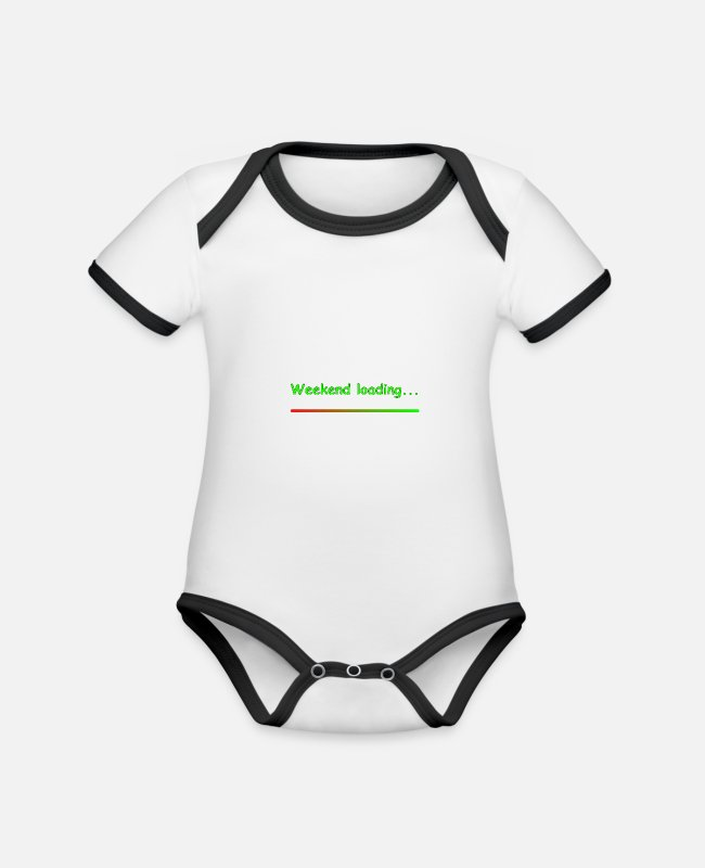End Of The Week Baby Bodysuits - Weekend loading - Organic Contrast Baby Bodysuit white/black