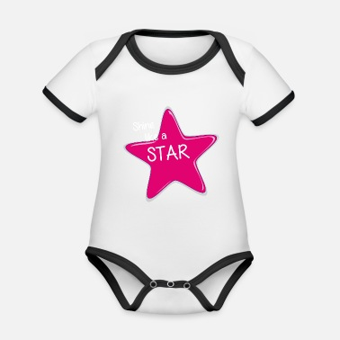 Shine Like A Unicorn Shine like a star - rays like a star - Organic Contrast Baby Bodysuit