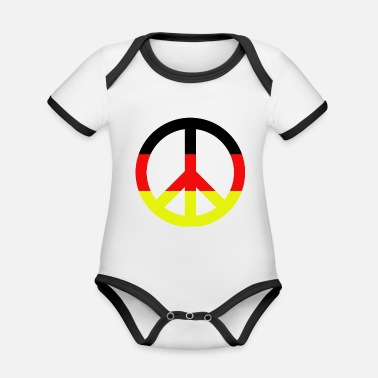 Pacifist Peace Sign Pacifist Germany Gift - Ekologisk kontrastfärgad babybody