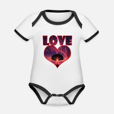 Big Love Big heart big love big tree - Økologisk kontrast babybody