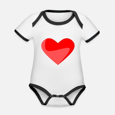 Heart Red heart - Organic Contrast Baby Bodysuit
