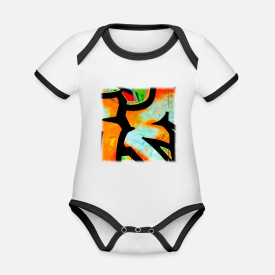 Young Baby Clothes - Graffiti - Organic Contrast Baby Bodysuit white/black