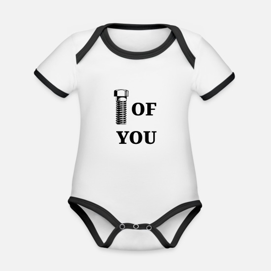 Screwdriver Baby Clothes - Brave of you Bold Bolt - Organic Contrast Baby Bodysuit white/black