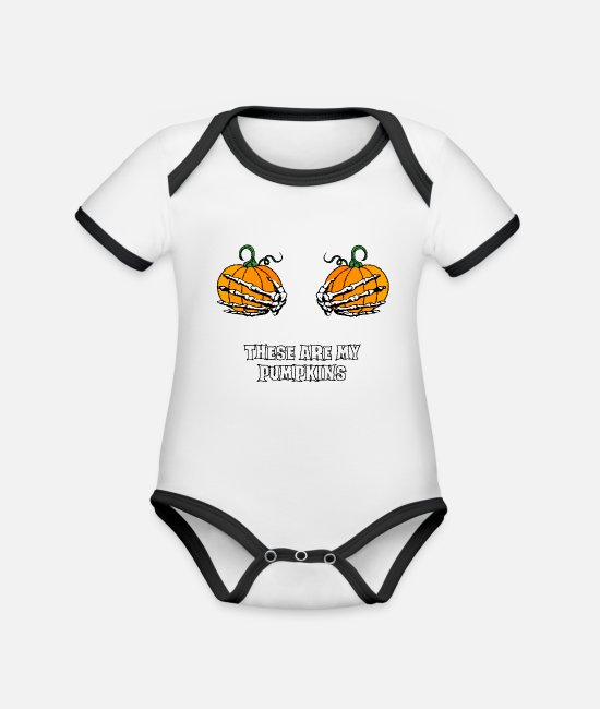 Attractive Baby Bodysuits - my pumpkins skeleton hands breasts halloween - Organic Contrast Baby Bodysuit white/black