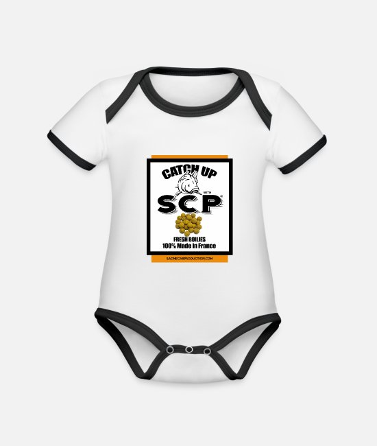 Release Baby Clothes - SCP ® - Catch up carps - Organic Contrast Baby Bodysuit white/black