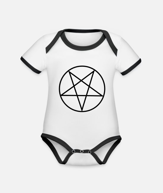 Star Baby Clothes - Inverted Pentagram / Pentacle - Organic Contrast Baby Bodysuit white/black