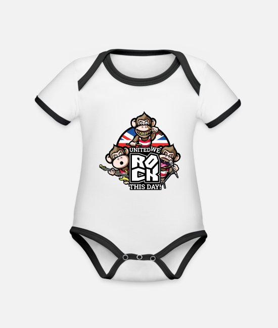 Monkey Baby Clothes - United We Rock! - Organic Contrast Baby Bodysuit white/black