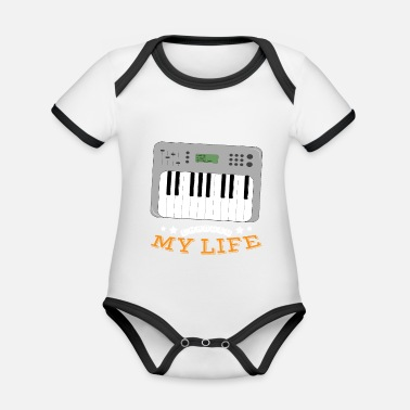 Synthesizer Synthesizer Changed My Life - Baby contrasterend bio-rompertje met korte mouwen