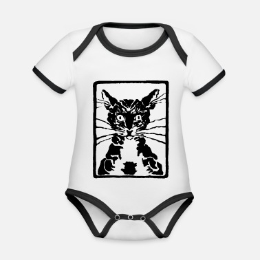 Black Cat black cat or black cat - Organic Contrast Baby Bodysuit