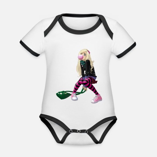 Wife Baby Clothes - Manga Girl - Organic Contrast Baby Bodysuit white/black