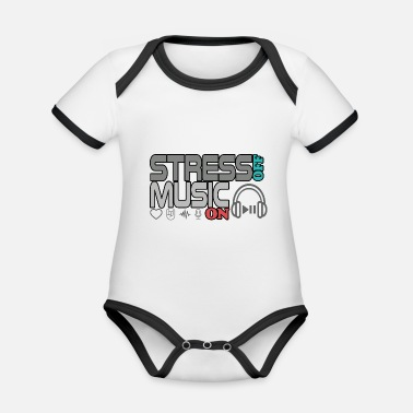 Turn On Turn off stress - turn on music - Organic Contrast Baby Bodysuit
