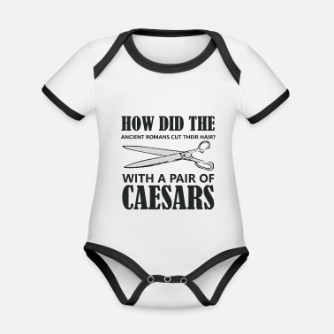 Roman Archeology Archaeologist Roman Caesar Rome Word Game - Organic Baby Contrasting Bodysuit
