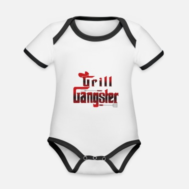 Gangster Grill Gangster - Barbecue / Barbecue / Cadeau - Body Bébé bio contrasté manches courtes