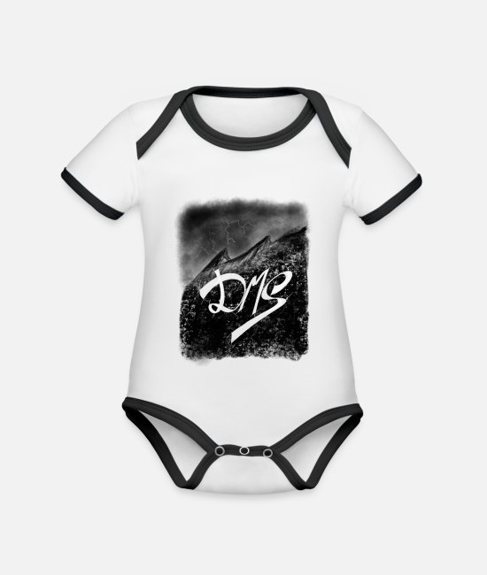 Mountains Baby Clothes - Mountains in the Water by De Martinis Streetwear - Organic Contrast Baby Bodysuit white/black