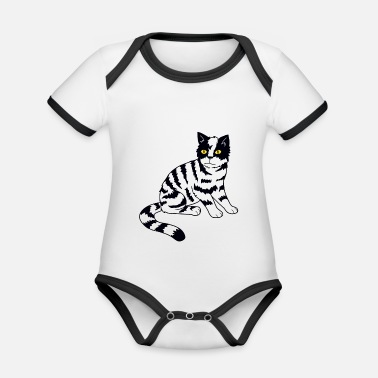 Domestic Cat domestic cat - Organic Contrast Baby Bodysuit