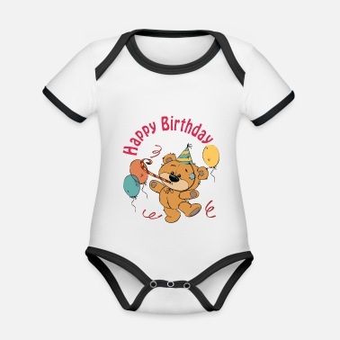 Happy Birthday Petit ourson - Happy Birthday - Body Bébé bio contrasté manches courtes