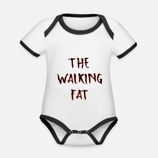 Hungry Baby Clothes - The walking FAT - Organic Contrast Baby Bodysuit white/black