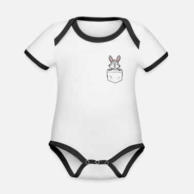 Little Sister Bunny bag - bunny in my pocket - Organic Contrast Baby Bodysuit