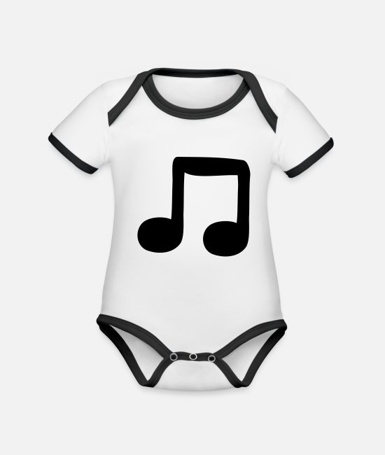 Guitar Baby Bodysuits - quavers - Organic Contrast Baby Bodysuit white/black