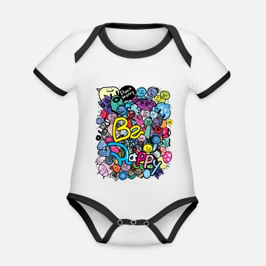 Be Happy Doodle Monster Mens Be happy doodle monster - Organic Contrast Baby Bodysuit