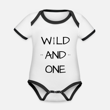 One Birthday Wild and one - Wild and one - Birthday Birthday - Organic Contrast Baby Bodysuit