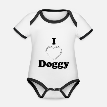 I love doggy - Organic Contrast Baby Bodysuit
