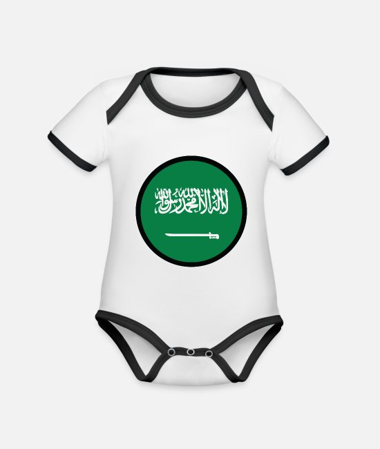 Saudi Arabia Baby Bodysuits - Under The Sign Of Saudi Arabia - Organic Contrast Baby Bodysuit white/black