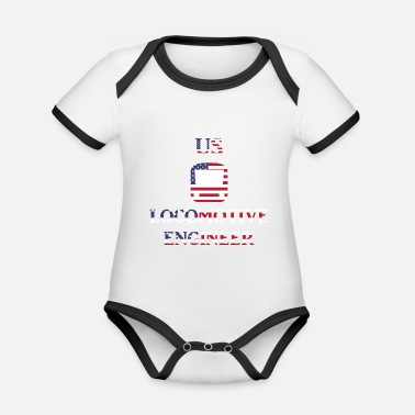 Us US Locomotive engineer in US Flag - Baby Bio Kurzarmbody zweifarbig