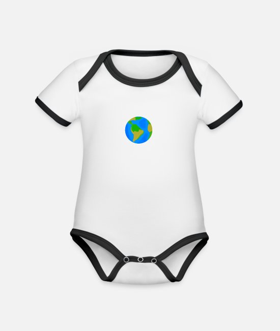 Earth Baby Bodysuits - Earth / Earth - Organic Contrast Baby Bodysuit white/black