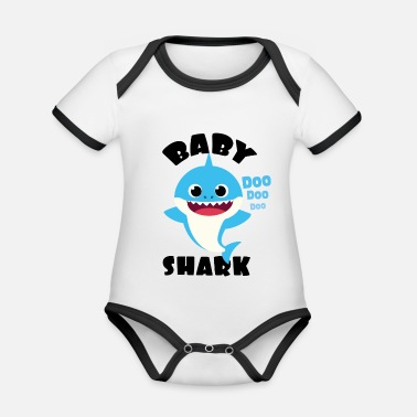 Baby Shark Design in Blue for Boy Doo Doo Gift - Organic Contrast Baby Bodysuit