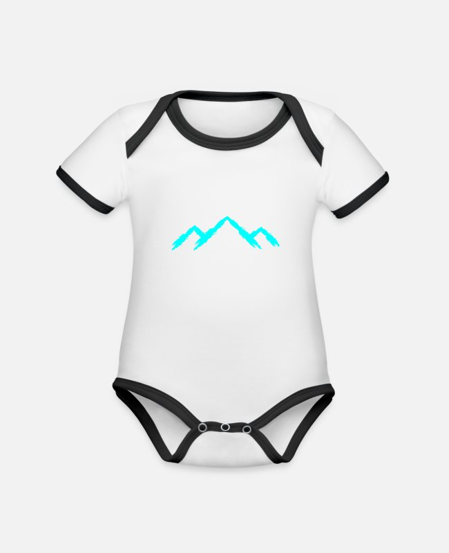 Mountains Baby Bodysuits - Mountain mountaineering - Organic Contrast Baby Bodysuit white/black