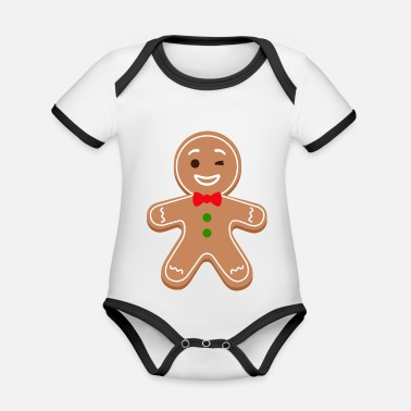 Gingerbread man, gingerbread man - Organic Contrast Baby Bodysuit