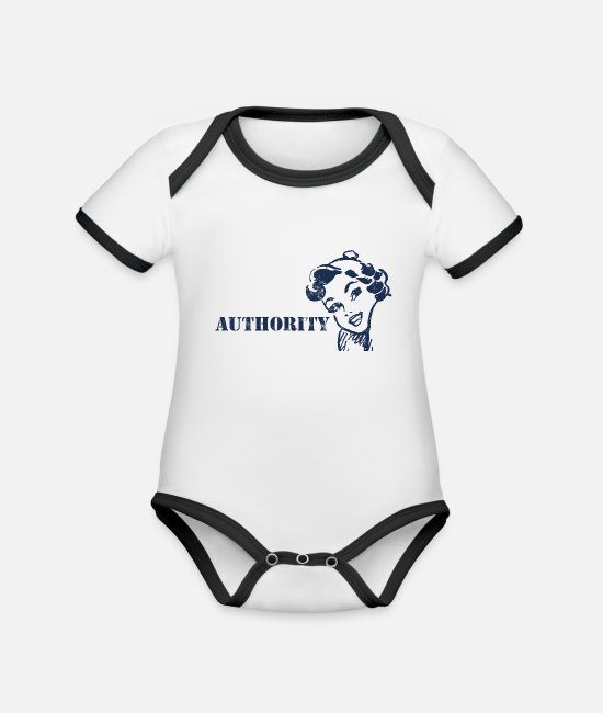 Bombshell Baby Bodysuits - Pin-Up Girl / Rockabilly / 50s: Authority - Organic Contrast Baby Bodysuit white/black