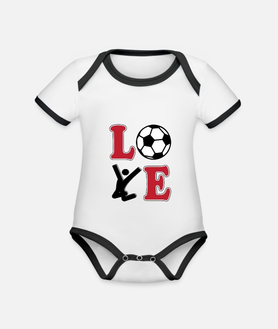 World Championship Baby Clothes - Love Football Football - Organic Contrast Baby Bodysuit white/black