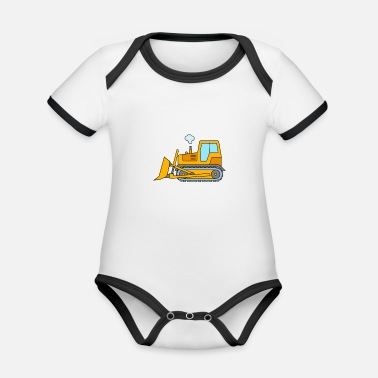 Bulldozer Bulldozer for children - bulldozer construction site - Organic Baby Contrasting Bodysuit